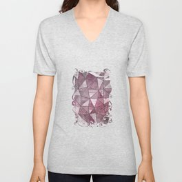 Pink Red Glamour Marble Shiny Stained Glass Design Unisex V-Neck