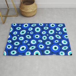 Evil Eye Symbol Blue White Pattern Rug