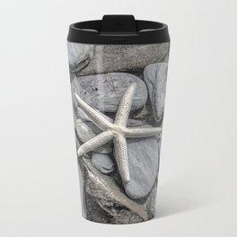 Starfish on Rocks monochrome beige Metal Travel Mug