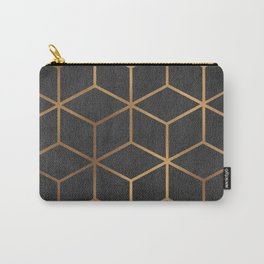 Charcoal and Gold - Geometric Textured Cube Design I Carry-All Pouch
