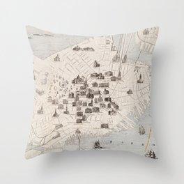 Vintage Boston Landmark Map (1871) Throw Pillow