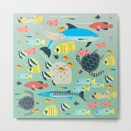 Underwater World with Coral Reef Animals Metal Print