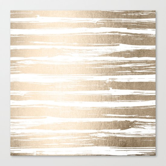 White Gold Sands Painted Stripes Canvas Print