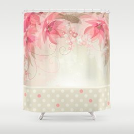 Abstract Pink and Ivory Watercolor Flowers and Polka Dots Shower Curtain