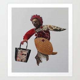 Granny Goes Shopping Art Print