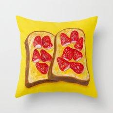 Strawberry Toast Throw Pillow