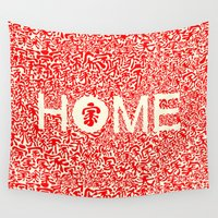 pasta Wall Tapestries featuring Home:家 by aPersonalidea