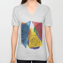 Complimentary Color Rose Trio With Geometric Triangles Unisex V-Neck