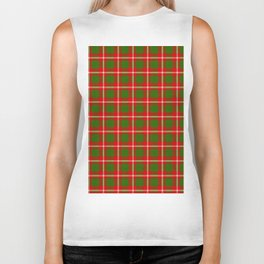 Tartan Style Green and Red Plaid Biker Tank