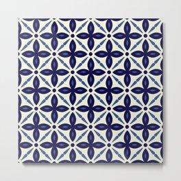 N170 - Vintage Classic Floral Indigo Blue Pattern Design  Metal Print