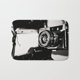camera love b/w Bath Mat