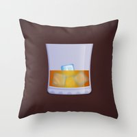 whiskey Throw Pillows featuring Whiskey by Rob Barrett — Nice Hot Cuppa