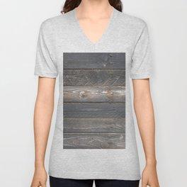 distressed western country farmhouse chic dark grey woodgrain barn board wood plank  Unisex V-Neck