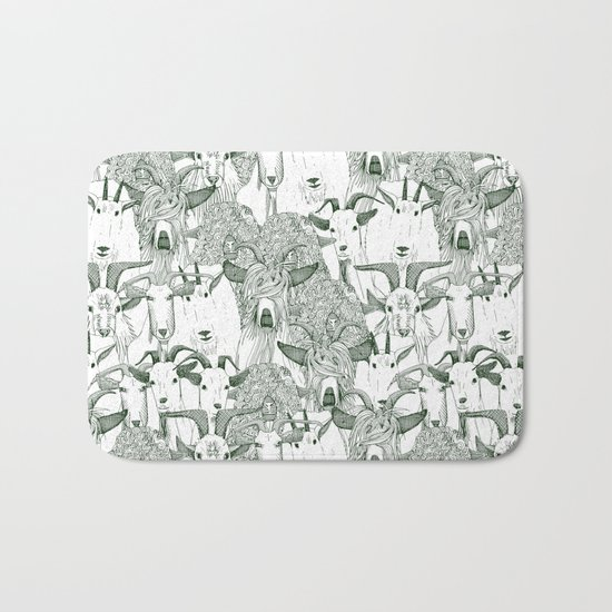 just goats dark green Bath Mat