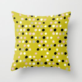 Scatter Dots in Mustard Mix Throw Pillow