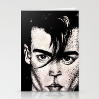 johnny depp Stationery Cards featuring Johnny Depp by Devon Opp