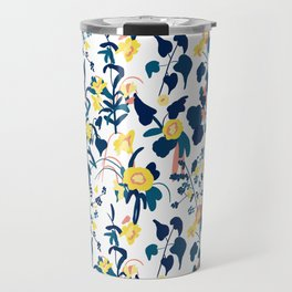 Buttercup yellow, salmon pink, and navy blue flowers on white background pattern Travel Mug