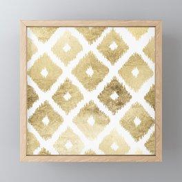 Modern chic faux gold leaf ikat pattern Framed Mini Art Print