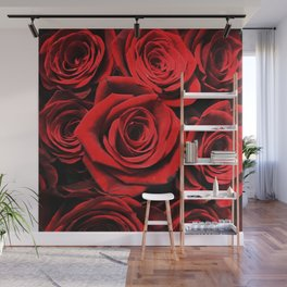 Vampire Kissed Blood Red Gothic Roses Wall Mural
