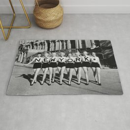 The Girl with New York shirt in a line, lovely girls on the street - mid century vintage photo Rug