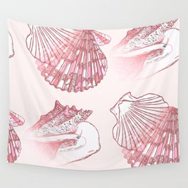 Seashells Coastal Nautical Pattern Pink Wall Tapestry