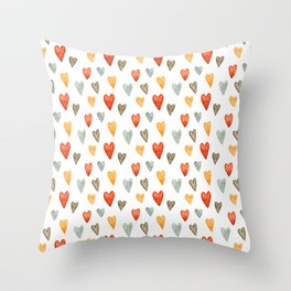Illustrated Sketch Hearts // Orange // Yellow // Gray Throw Pillow