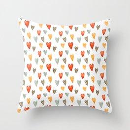 Illustrated Sketch Hearts // Orange // Yellow // Gray Throw Pillow