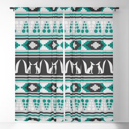 Ethnic pattern with foxes Blackout Curtain