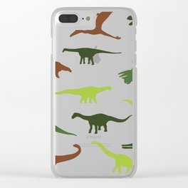 Green dinosaurus pattern Clear iPhone Case