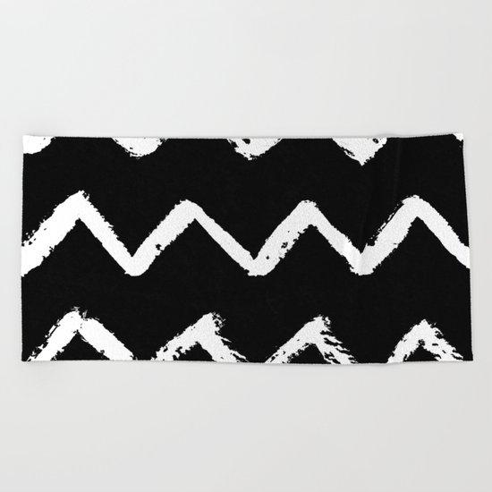 Chevron Stripes White on Black Beach Towel