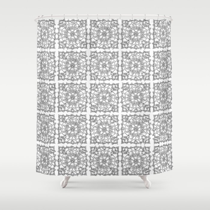Abstracted Doily Pattern Of Snowflake Crochet Shower Curtain By