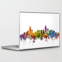 north carolina Laptop & iPad Skins featuring Charlotte North Carolina Skyline by artPause
