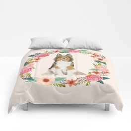 Sheltie floral wreath dog breed shetland sheepdog pet portrait Comforters