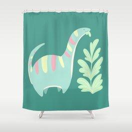Cute Dino Eats Leaves Shower Curtain