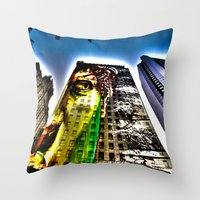 mike wrobel Throw Pillows featuring Mike by Klezmatik