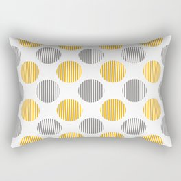 Yellow, gray and white striped texture polka dots pattern Rectangular Pillow