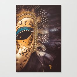 Close-up of a Venetian carnival marker with black and blue feathers. Canvas Print