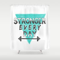crossfit Shower Curtains featuring Stronger Every Day (barbell) by Lionheart Art