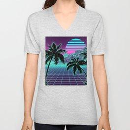 Retro 80s Vaporwave Sunset Sunrise With Outrun style grid print Unisex V-Neck