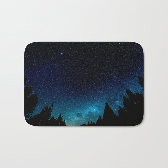 Black Trees Turquoise Milky Way Stars Bath Mat
