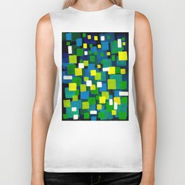 """Original Abstract Acrylic Painting by  """"City Lights"""" Colorful Geometric Square Pattern Gre Biker Tank"""