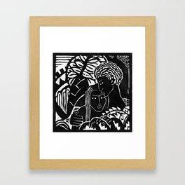 Couple Embracing - Vintage Block Print Framed Art Print