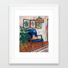 Ginger Cat on Blue Mid Century Chair Painting Framed Art Print