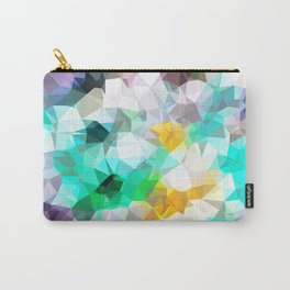 psychedelic geometric triangle polygon pattern abstract background in green blue yellow Carry-All Pouch