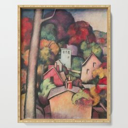 Autumn Foliage, Upper Manhattan, New York landscape painting by Thomas Hart Benton  Serving Tray