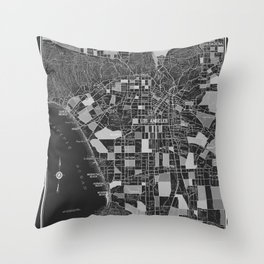 Los Angeles - Black Throw Pillow