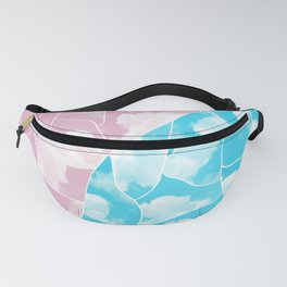 Mosaic Pattern with White Clouds on Pink and Blue Sky Fanny Pack