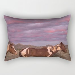 Santa Fe Sunset With Horses Rectangular Pillow