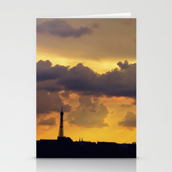Sunset over Paris Stationery Cards