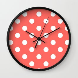 Polka Dots - White on Pastel Red Wall Clock